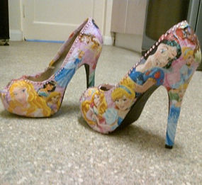 Princess shoes for her daughter's hen do - made by Debi from Middlesbrough