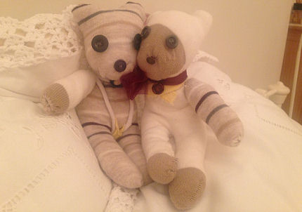 Sock teddies snuggling, made by Madge from Sussex